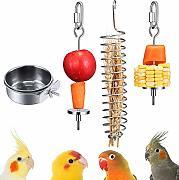 carne frutta per pappagalli verdura piccolo e grande Elibeauty cibo 2 spiedini per mangiatoia per uccelli