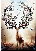 Yeshi Modern Watercolor Deer tela pittura