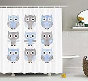 Yeuss Cute Shower Curtain, Blue e Grey Cute Owl