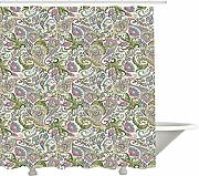 Yeuss Paisley Shower Curtain, Arabesque Floral
