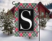 Yilooom Personalized Christmas Garden Flag - Plaid