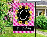 Yilooom Personalized Floral Garden Flag - Pink