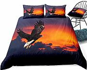 YnimioHOB 3D Black Eagle Bedding Flying Birds Set
