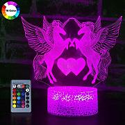YUMUO 3D Unicorn Night Light Illusione Ottica