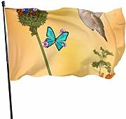 Yushang Hummingbird with Two Flowers Garden Flags